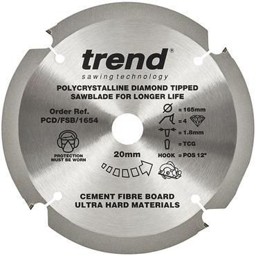 TREND C1PCD/FSB/1654 Fiberbroad Saw Blade, PCD 165mm X 4T X 20mm