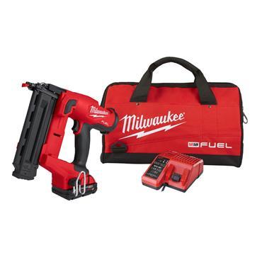MILWAUKEE M18FN18GS-202X 18V FUEL 18G Finish Nailer, 2 x 2Ah Batteries