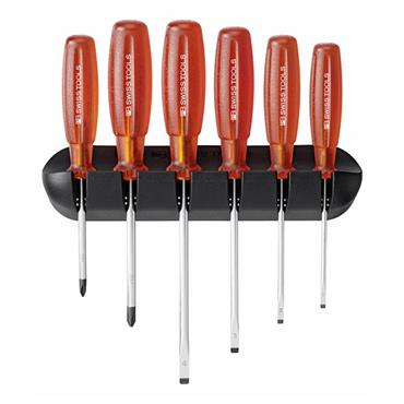 PB Swiss Tools 6244 6 Piece Mixed Wall Rack Multicraft Slotted Screwdriver Set