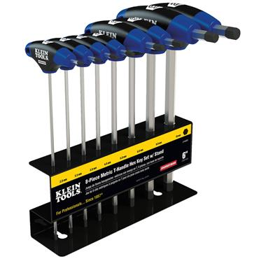Klein Tools JTH68M 8 Piece Metric T-Handle Hex Key Set with Stand