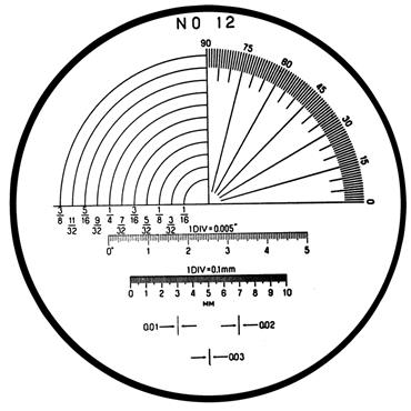 Mitutoyo 183-113 #12 Reticle For Pocket Comparators