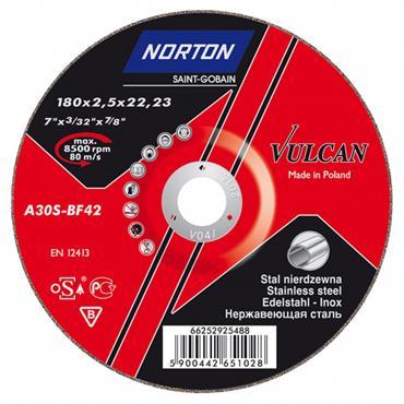 Norton 100 x 2.5mm Vulcan Metal Inox Steel Cutting Disc - 66252831497
