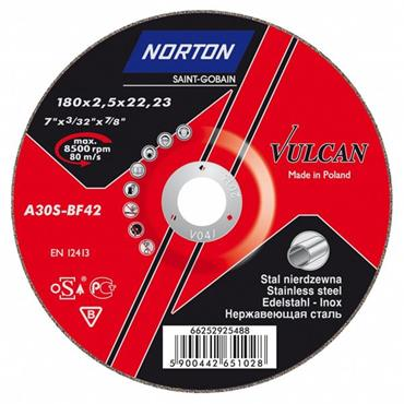 Norton 180 x 2.5mm Vulcan Metal Inox Steel Cutting Disc - 66252925488