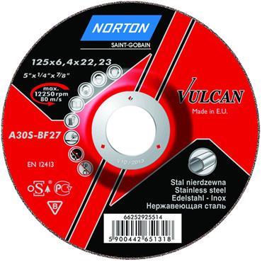 Norton 100 x 16 x 7mm Vulcan Metal Inox Steel Grinding Disc - 66252829953