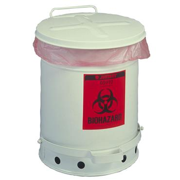 Justrite White Foot-Operated Self-Closing Cover Biohazard Waste Can