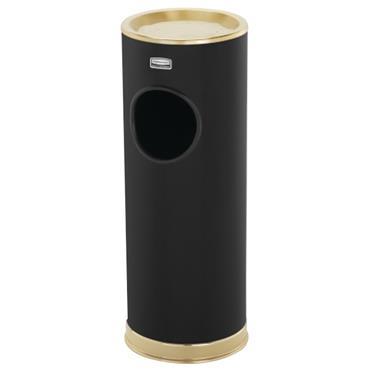 Rubbermaid 1100 13.25 Litre Black/Brass Trim Ash Trash Waste Container