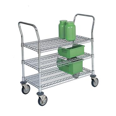 QUANTUM STORAGE 3 Shelf Utility Wire Shelving Carts