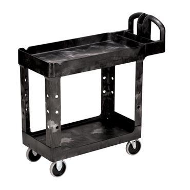 Rubbermaid 4500-58-BLA 2-Shelf Black Heavy Duty Utility Cart