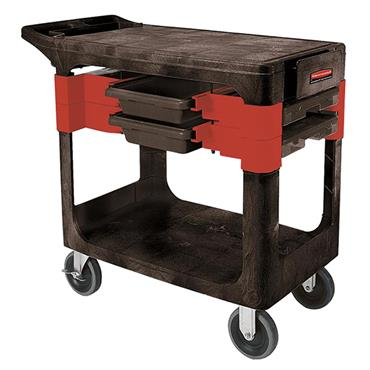 Rubbermaid 6180 2-Shelf Black/Red Trades Cart