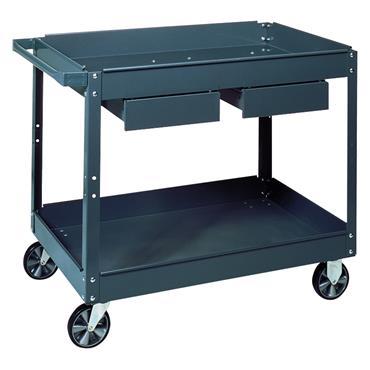 Edsal SC-2224 2-Shelf/Drawer Grey Commercial Service Cart
