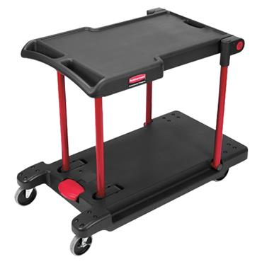 Rubbermaid 4300 2-Shelf Black Convertible Utility Cart