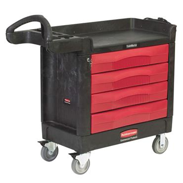 Rubbermaid 4513-88 4-Drawer Black/Red Trademaster Cart