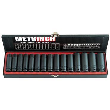 """Metrinch MET 2450 15 Piece Metric 1/2"""" Drive Impact Socket Set"""