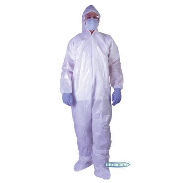 ULTRAGUARD  Polyethylene Coated Polypropylene Coveralls Attached Hood & Boot