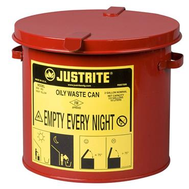 Justrite 9200 8 Litre Countertop Oily Waste Can