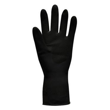 Polyco Jet Black Heavy Duty Flock Lined Natural Rubber Gloves