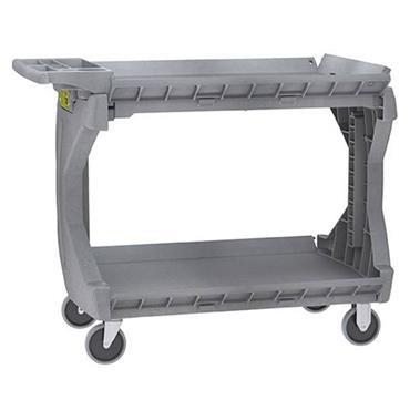 Akro-Mils 2-Shelf Grey Convertible Small Utility Cart with Rail Hanger