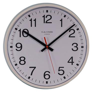 E.A Combs 6411 Medium-Sized Commercial Metal-Cased Wall Clock
