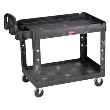 Rubbermaid 4520-58 2-Shelf Black Heavy Duty Utility Cart