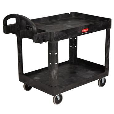 Rubbermaid 4546 2-Shelf Black Heavy Duty Utility Cart