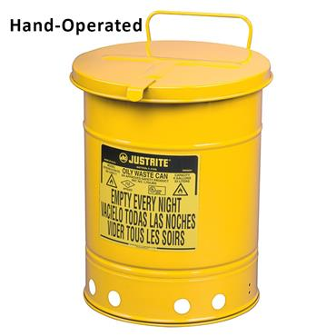 Justrite Yellow Oily Waste Cans