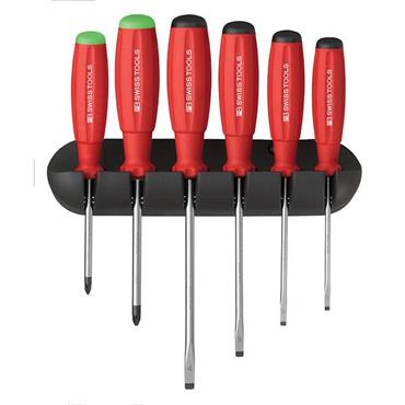 PB Swiss Tools PB8245C 6 Piece Mixed SwissGrip Slotted Screwdriver Set