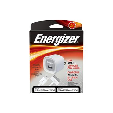 ENERGIZER 10W 110v USB Wall Charger and Dock Connector to USB Cable PC-1WAT