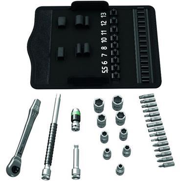 "Wera 8100 SA 8 28 Piece Metric Zyklop Metal 1/4"" Drive Ratchet Socket Set"