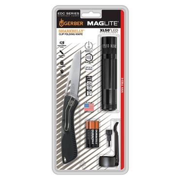 Maglite XL50-S3TNK LED Flashlight with Sharkbelly Folding Knife Kit