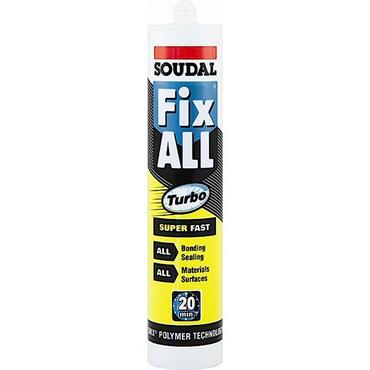 Soudal FIXTWH 290ml White Fix All Turbo Super Fast Adhesive