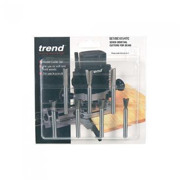 """Trend DC1X1/4TC 1/4"""" 7 piece Dovetail Centre Cutter Set"""