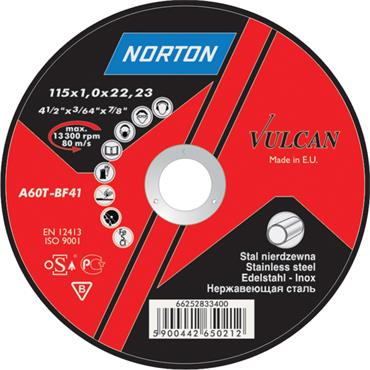 Norton 230 x 2.5mm Vulcan Flat Metal Cutting Discs - 66252925427