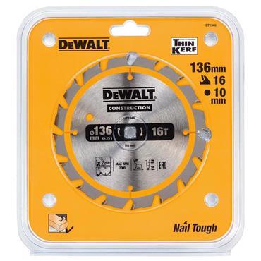 DeWALT 136 x 10 x 16T, Construction Circular Saw Blade - DT1946-QZ