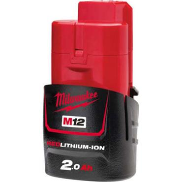 Milwaukee M12B2 12 Volt Red Lithium-Ion Battery Pack, 1 x 2.0Ah Batteries