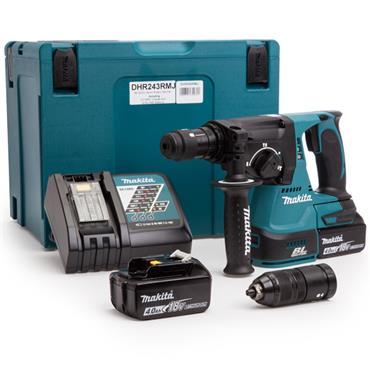 Makita DHR243RMJ SDS-Plus 18 Volt Brushless Rotary Hammer Drill, 2 x 4.0Ah Batteries