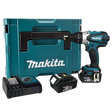 Makita DHP459SFE 18 Volt Brushless 2-Speed Combi Drill Driver, 2 x 3.0Ah Batteries