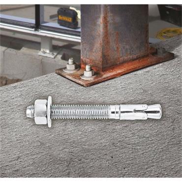DeWALT M8 DFM1110 PTB-Pro Zinc Plated Heavy Duty Throughbolts Mechanical Anchors - 100 Pack
