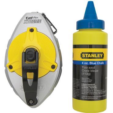 Stanley 47-482L 2 Piece 30m FatMax Xtreme Chalk Box Set with Blue Chalk