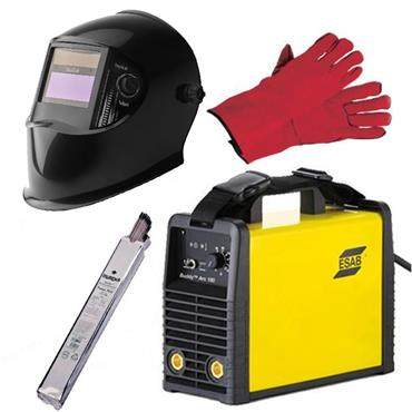 ESAB Buddy Arc 180 Amp Inverter Welder Package with Gloves, Electrodes and Automatic Welding Helmet