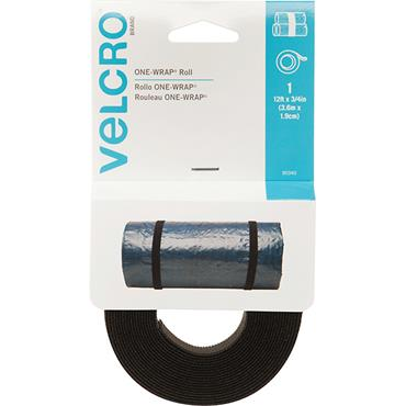 "VELCRO® BRAND ONE-WRAP® Reusable Black Strap 12ft x 3/4"" 90340"