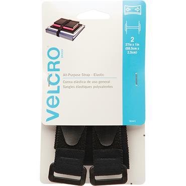 "VELCRO® BRAND Velstretch Strap 1"" x 27"" 2-Pack Black 90441"