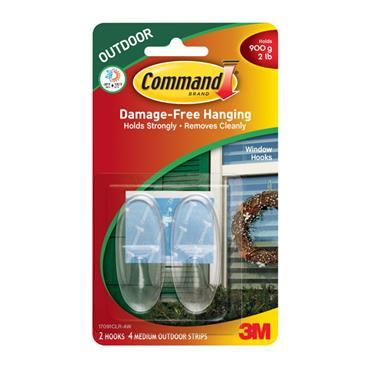 3M Command™ 17091CLR Medium Clear Hooks, Outdoor