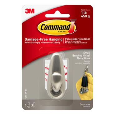 3M Command™ FC11-BN Small Forever Classic Brushed Nickel Metal Hook