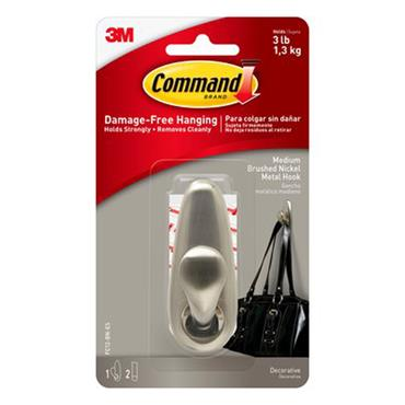 3M Command™ FC12-BN Medium Forever Classic Brushed Nickel Metal Hook