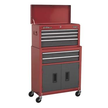 Sealey AP2200BBCOMBO 6-Drawer Red/Grey Rollcab Chest