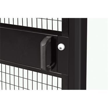 FOLDING GUARD Saf-T-Fence Hinged Door with Cylinder Lock, Black