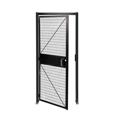 FOLDING GUARD Saf-T-Fence Hinged Door with Cylinder Lock, Black