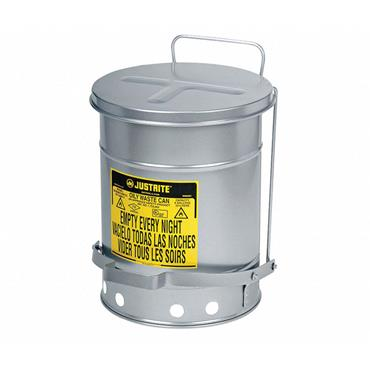Justrite J09704 Floor Oily Waste Can, 21 gal., Galvanized Steel, Silver, Foot Operated Self Closing
