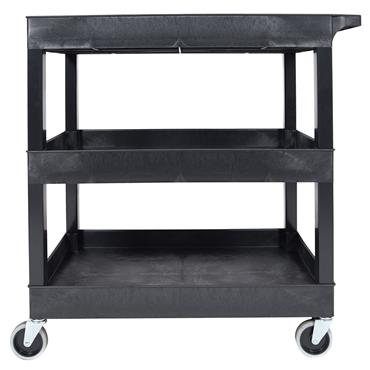Luxor EC111-B 3-Shelf Black Tub Utility Cart