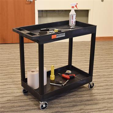 Luxor EC11-B 2-Shelf Black Tub Utility Cart